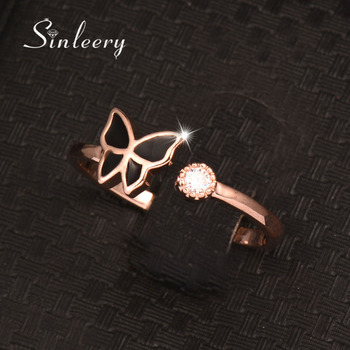 SINLEERY Black Butterfly Finger Rings Adjustable Size Rose Gold Color Cubic Zirconia Ring Brand Jewelry Jz462