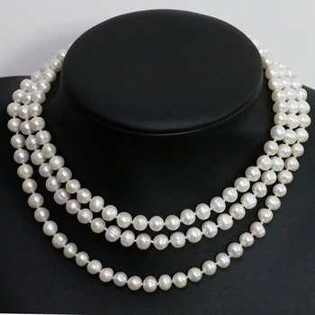 White freshwater cultured natural round pearl 7-8,8-9mm fashion beads long chain necklace charms jewelry 46inch B1483