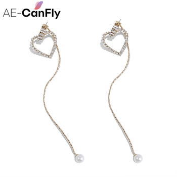 AE-CANFLY Luxury Brand Long Drop Earring Heart Bling Lady Wedding Jewelry Temperament pendientes mujer moda EX506